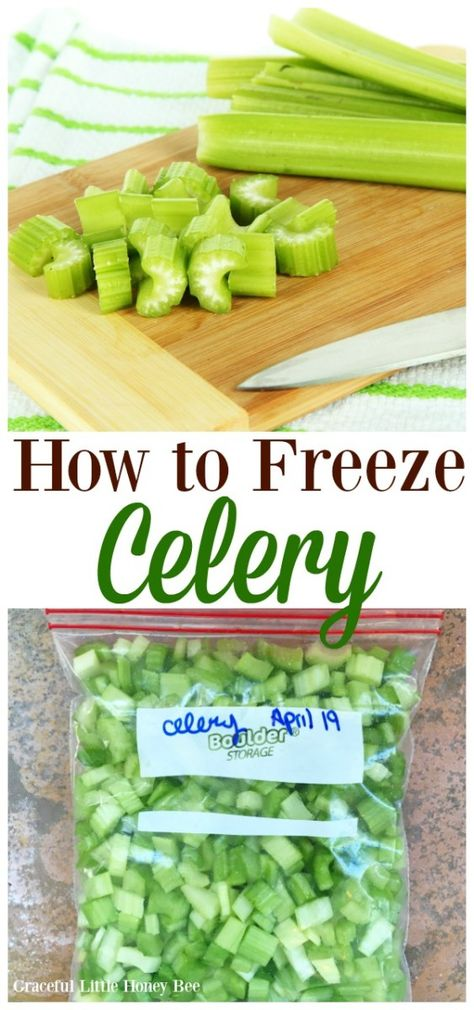 See how to freeze celery for soups and stews in this super quick tutorial on gracefullittlehon. Freezing Vegetables, Freezing Fruit, Frozen Vegetables, Fruits And Veggies, Freezing Celery, Nutella Brownies, Keto Brownies, Frozen Fruit, Frozen Meals