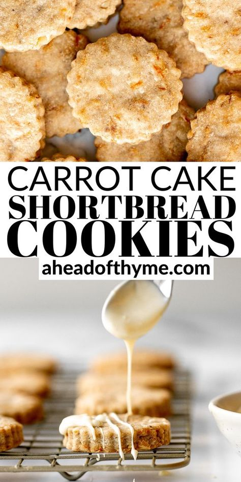 Carrot cake shortbread cookies are sweet and buttery, packed with carrots and walnuts, and spiced like your favourite carrot cake. Enjoy them as is, or with a drizzle of melted white chocolate for total indulgence. These cookies are easy to make in one bowl with a few simple ingredients and they are freezer-friendly (both baked and unbaked). Enjoy them all year round, especially for Easter. | aheadofthyme.com #carrotcakecookies #carrotcakeshortbread #shortbreadcookies #easterco via @aheadofthyme