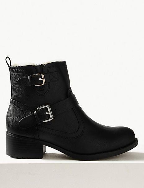 Biker Block Heel Ankle Boots   M\u0026S