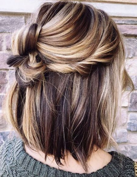 Half Bun On Shoulder Length Lob Hair Styles Gorgeous Hair Color Hair Color 2018