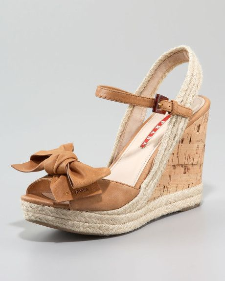 7f7f926d59e Prada Beige Leather Bow Espadrille Wedge Sandal | Shoes! Bow | Pinterest