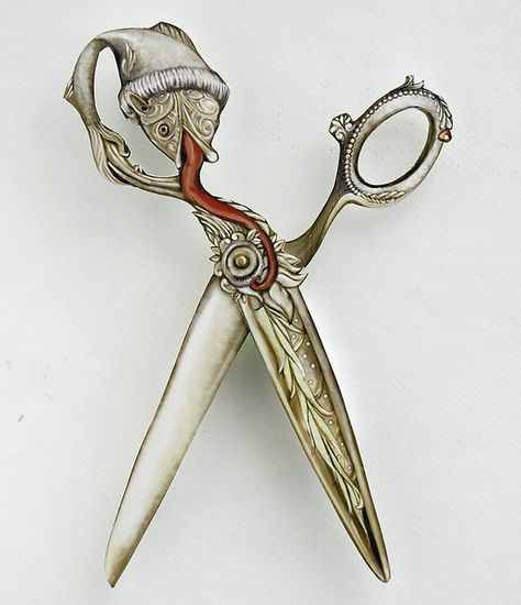 Small Cut Steel Embroidery Scissors Gilt Gothic Sewing Tool Antique