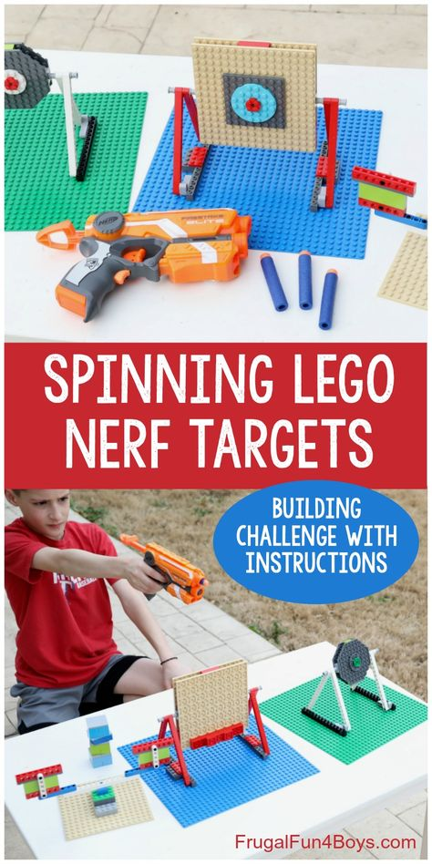 How to Build Spinning LEGO Nerf Targets - Frugal Fun For Boys and Girls How to Build Spinning LEGO Nerf Targets super fun Nerf gun game for kids! Building challenge has benefits as a STEM learning activity. - Nerf Gun - Ideas of Nerf Gun Craft Activities For Kids, Toddler Activities, Crafts For Kids, Stem Activities, Toddler Meals, Summer Activities, Toddler Toys, Legos, Lego Target
