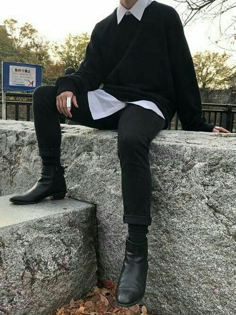 Image about fashion in M E N S T Y L E by Q outfits Preppy outfits With Boots outfits Night outfits Streetwear outfits summer Grunge Outfits, Edgy Outfits, Mode Outfits, Fashion Outfits, Boy Fashion, Winter Fashion, Fashion Guide, Basic Outfits, Preppy Outfits