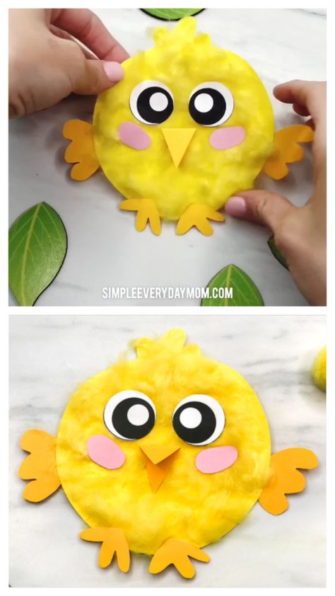 Fluffy Chick Craft For Kids   Make this cute paper chick craft for spring or Easter. It uses only simple supplies and is easy enough to use with kids in preschool, kindergarten or elementary school.   #kidscrafts #craftsforkids #chickcrafts #farmcrafts #easter #eastercrafts #eastercraftsforkids #farmactivities #kidsactivities #kidsactivity #preschoolercrafts #kindergarten #elementary #simpleeverydaymom #preschool #teachingkindergarten #teacher