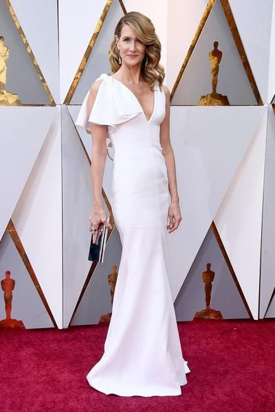 Laura Dern White Long Celebrity Dresses for The Oscars