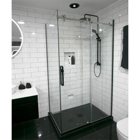 Tiled Centre Waste Luxury Frameless Sliding Shower Kit 2 Sided