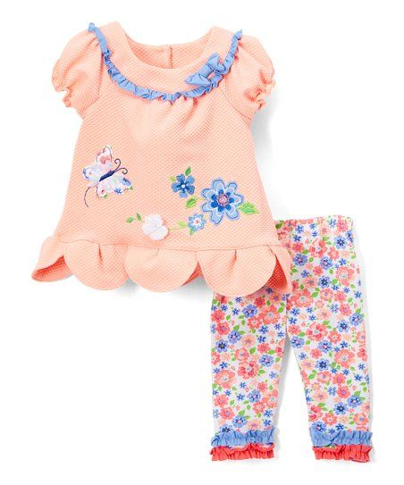 Butterfly and Animals Nanette Girls 2-Piece Leggings and Shirt Set with Wide Variety of Flowers