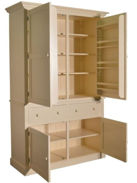 Details about Solid Pine Cupboard, Painted 4 Door Provisions,Larder, Kitchen Storage Cabinet - Kitchen Pantry Cabinets