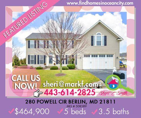 #House #ForSale:280 Powell Cir Berlin, MD 21811 $464,900| 5BD | 3.5BA