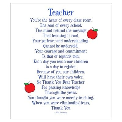 Teacher Thank You Wall Art By Nikiclixcreations Cafepress Teacher Appreciation Quotes Teacher Poems Teacher Quotes Inspirational