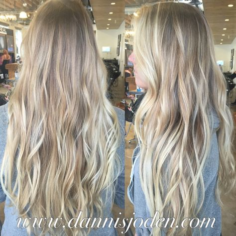 Natural blonde root melting into platinum blonde balayage. Hair by Danni in Denver, CO