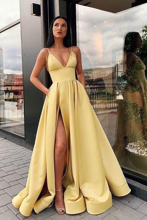 A Line Spaghetti Straps V Neck Yellow Prom Dresses with Pockets High Slit Satin Formal Dress
