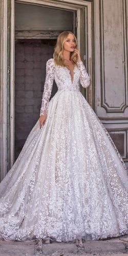 WONÁ Wedding Dresses Total Inspiration For 2020 ★  wona wedding dresses ball gown with long sleeves v neckline lace sequins nelson