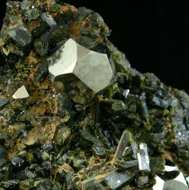 Cluster Of Dark Green Epidote Crystals Up To 3 Mm With Several Pyrite