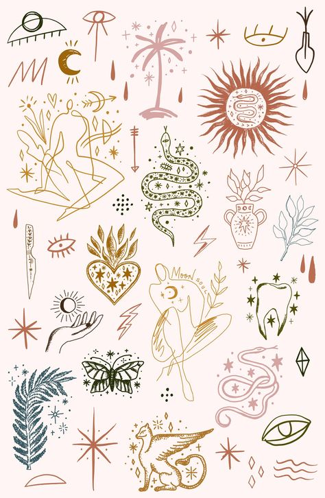 About ★ Clipart vintage set, the creation of which I was inspired by ancient medieval books with magical animals (bestiaries), coats of arms and engravings. Moon Tattoo, Future Tattoos, Line Art Drawings, Drawings, Cute Tattoos, Tattoo Drawings, Art, Flower Tattoos, Tattoo Designs