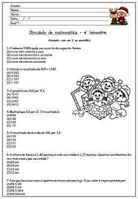 Simulado De Matematica Com Gabarito 4º Bimestre Bimestre