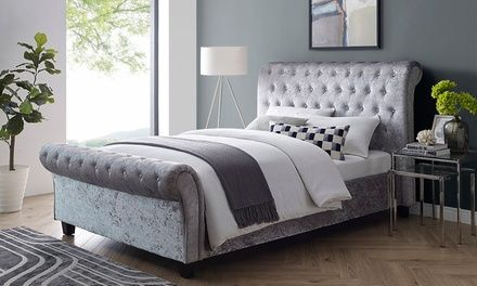 Surprising Up To 67 Off Crushed Velvet Sleigh Bed Groupon Home Lamtechconsult Wood Chair Design Ideas Lamtechconsultcom