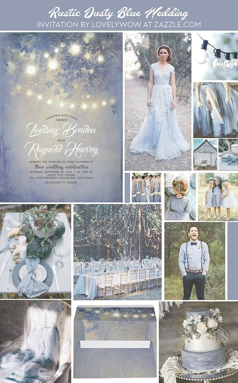 Dusty Blue Wedding Rustic String Lights Invitation Zazzle com is part of Rustic wedding blue Dusty blue rustic country lights wedding invitations -
