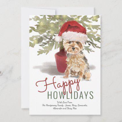 Happy Howlidays Cute Yorkshire Terrier Watercolor Holiday Card Zazzle Com In 2020 Watercolor Holiday Cards Holiday Design Card Holiday Cards