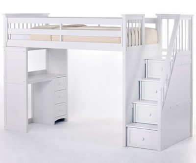 School House Stair Loft Bed White White Loft Bed Twin Loft Bed Staircase Loft Bed