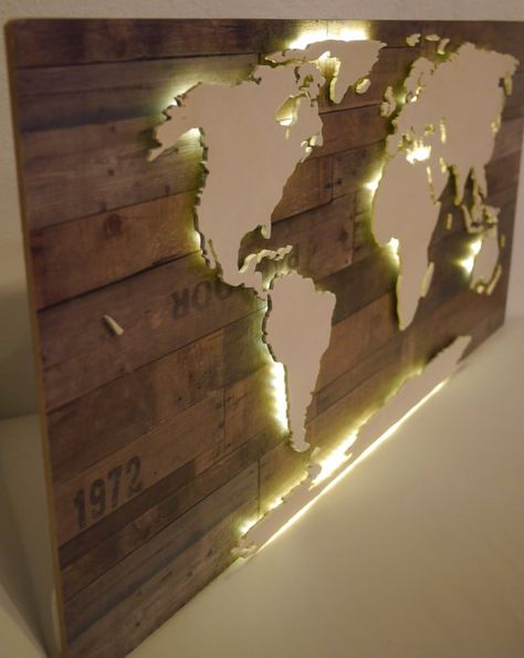 World map rustic wood map 24x38 rustic wood woods and etsy gumiabroncs Gallery