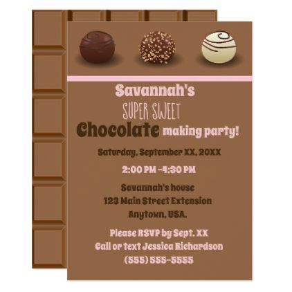 Super Sweet Chocolate Making Birthday Party Invitation