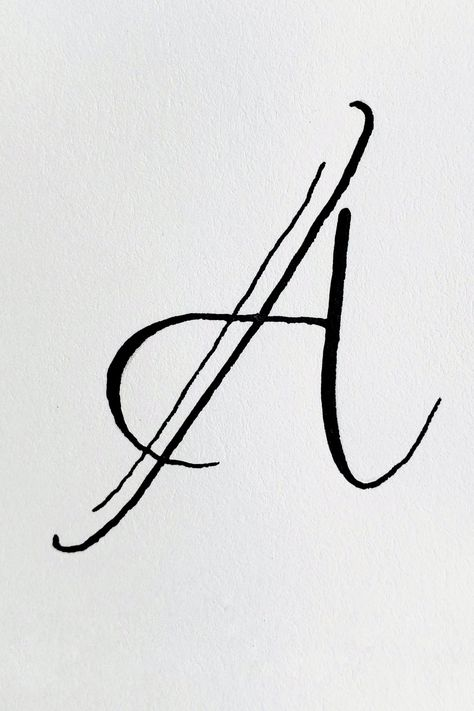 This Letter A belongs on the dance floor. It's one calligraphy style in an alphabet style study in watercolor and ink. Letter A and Azalea.