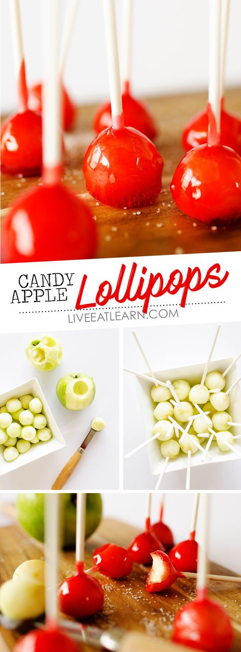 This Candy Apple Lollipops recipe has a crunchy candy coating with crisp Granny Smith apple on the insides. Theyre a bite-sized treat idea that need to be on your menu this fall for your holiday get togethers halloween party or family fall celebrations. Granny Smith, Apple Recipes, Fall Recipes, Holiday Recipes, Yummy Recipes, Candy Recipes, Dessert Recipes, Candy Apples Recipe, Mini Candy Apples