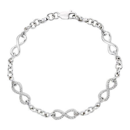 Diamond Infinity Link Bracelet In 10k White Gold Or Sterling Silver 1 4 Cttw Diamondbracelets Diamond Sparkle Bracelet Link Bracelets
