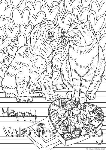 Cat And Dog In Love Love Coloring Pages Cat Coloring Page