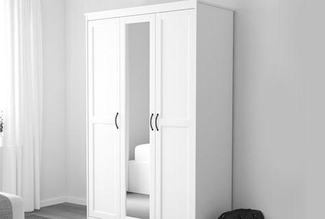 Armadio Ikea Bianco Due Ante.Guardaroba Con Ante A Specchio Songesand Bianco Ikea Armadio