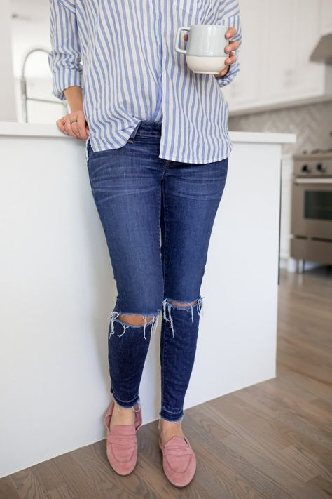 WHITE STRIPED TOPS AND PINK LOAFERS