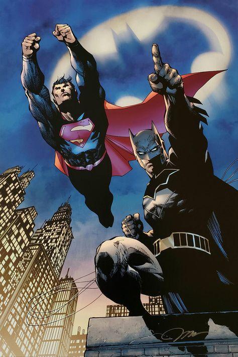 Jim Lee Signed Batman Superman Heroes Unite DC Giclee on Paper Limited Edition of 250 for the Anniversary by CharlesScottGallery on Etsy Jim Lee Superman, Batman Vs Superman, Jim Lee Art, Univers Dc, Batman Artwork, Arte Dc Comics, Marvel E Dc, Batman Universe, Dc Universe