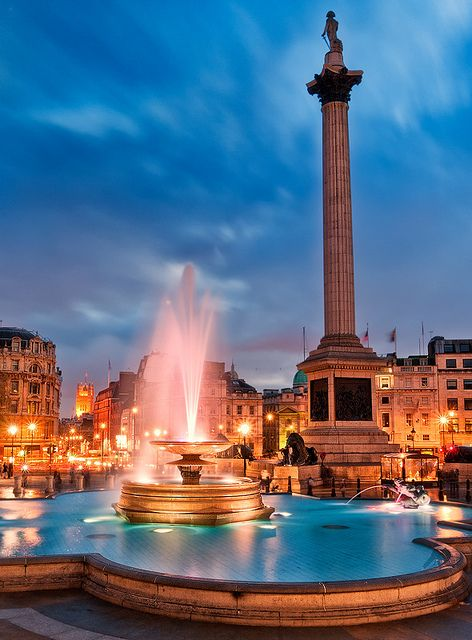 Trafalgar Square near Charing Cross station in London