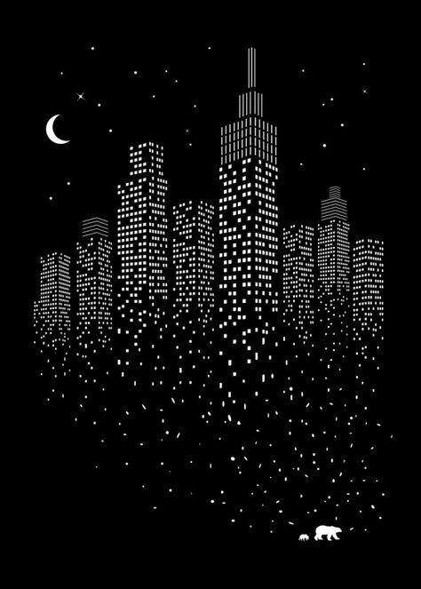 Displate Poster Polar City minimal #city #simple #snow #sky #night #space #black #clever #animal #newyork