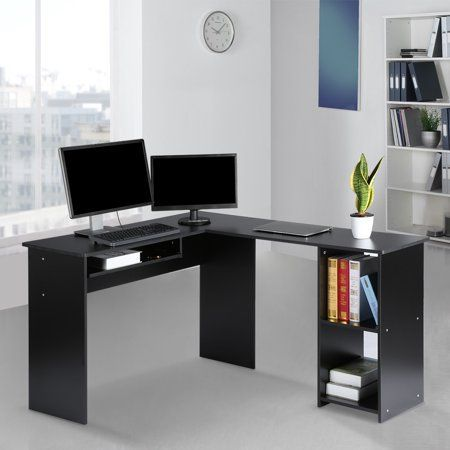 Langria L Shaped Home Office Wood Corner Desk With Mute Sliding Keyboard Tray And 2 Bookshelf In 2020 Best Home Office Desk Home Office White Desk Corner Computer Desk