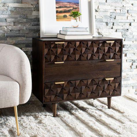 Safavieh Zinnia 3-Drawer Walnut Chest CHS9000A - The Home Depot