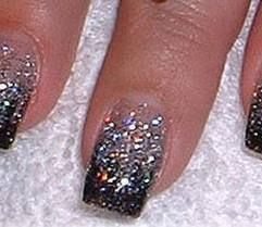 black tip with silver glitter nails