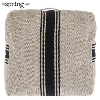 Black Herringbone Striped Floor Pillow