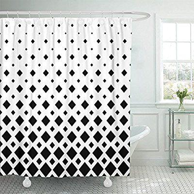Amazon Com Emvency Modern Black White Pattern Monochrome Geometric Graphic From Diagonal Squares Waterproof Shower C Curtains Geometric Graphic Shower Curtain