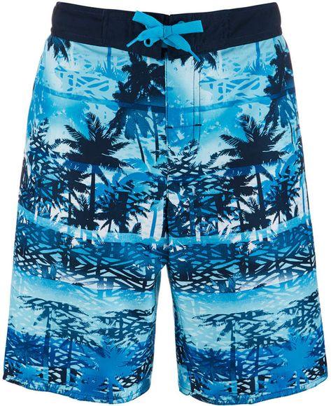 Mens Watercolor Flamingos Blue Flowers Pattern Boardshorts Beach Shorts