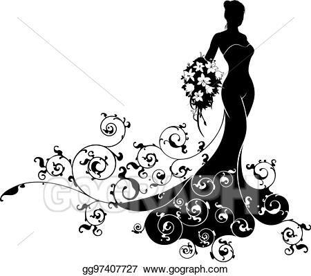 Vector Stock Bride Bouquet Wedding Silhouette Pattern Clipart Wedding Silhouette Clip Art Bride Bouquets