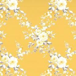Grey Ochre Floral Wallpaper Yellow White Flowers Catherine Lansfield Canterbury