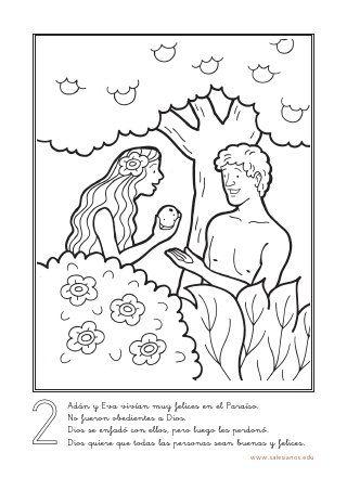 Colorear Historia Salvacion Artesania Biblica Adan Y Eva
