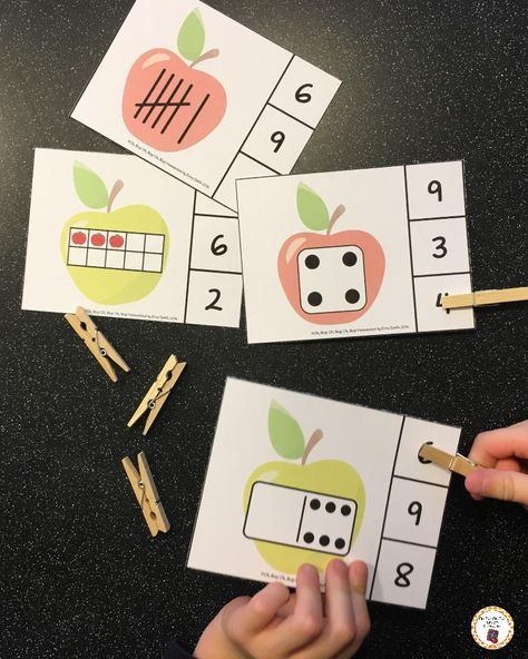 Your preschool or kindergarten students will have fun counting with these apple themed clip it cards!  Count numbers 0-20 using dominoes, dice, tables, tally's and fingers.