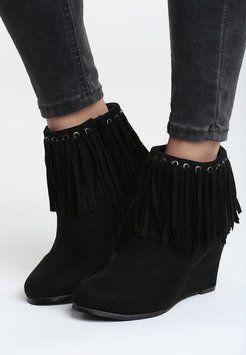 Czarne Botki Euphony Fashion Shoes Wedge Boot