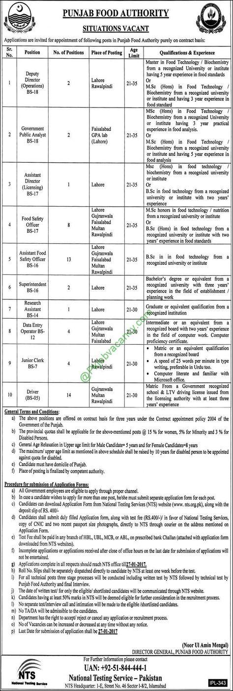 Nts Jobs For Punjab Food Authority Pfa Jobs  Application Form