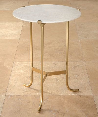 Plie Table - Polished Brass / White Honed Marble
