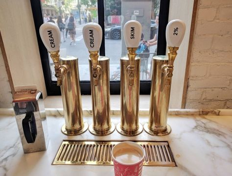 "This coffee shop that dispenses milk and cream via a beer tap. 15 Coffee Shops That Are Going To Make You Ask, ""Why Doesn't EVERY Coffee Shop Have That? My Coffee Shop, Coffee Shop Design, Iced Coffee, Coffee Shops Ideas, House Coffee, Coffee Girl, Coffee Ideas, Coffee Creamer, Modern Restaurant"